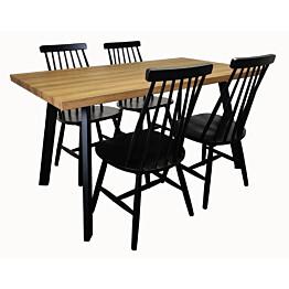 Ruokailuryhmä Tenstar West 140 -ruokapöytä + 4kpl mustia Sophia-tuoleja