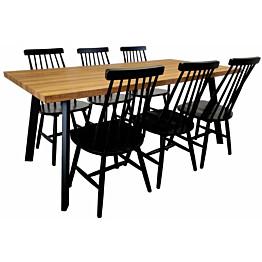 Ruokailuryhmä Tenstar West 180 -ruokapöytä + 6kpl mustia Sophia-tuoleja