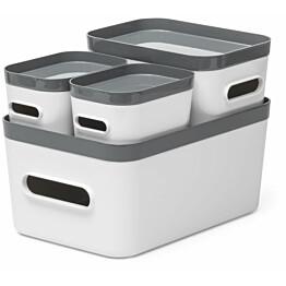 Säilytyslaatikkosetti SmartStore Compact 4-pack valkoinen/harmaa