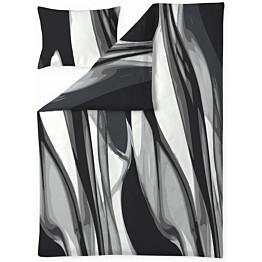 Satiinipussilakanasetti Finlayson Loitsu 150x210 cm musta/harmaa