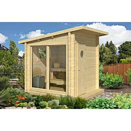 Sauna Olli 2363x2142x2142 mm 4 m² 44 mm kiuas- ja laudepaketilla