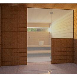 Saunan lasiseinä Vihtan 10 ovi + sivulasi harmaa satiini