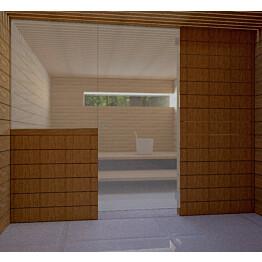 Saunan lasiseinä Vihtan 11 ovi + sivulasi harmaa