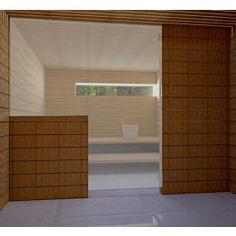 Saunan lasiseinä Vihtan 14 ovi + sivulasi harmaa satiini