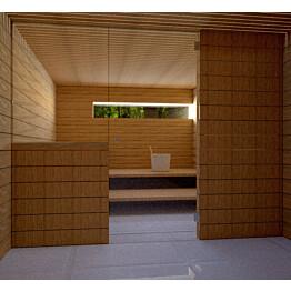 Saunan lasiseinä Vihtan 11 ovi + sivulasi kirkas