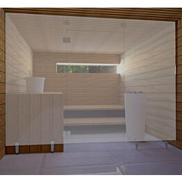 Saunan lasiseinä Vihtan 1 ovi + ylälasi + 2 sivulasia rst jaloilla harmaa