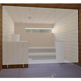 Saunan lasiseinä Vihtan 1 ovi + ylälasi + 2 sivulasia rst jaloilla satiini