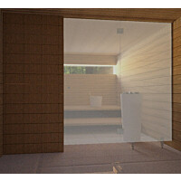 Saunan lasiseinä Vihtan 3 ovi + sivulasi rst jaloilla harmaa satiini