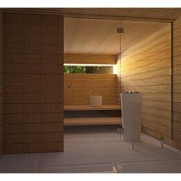 Saunan lasiseinä Vihtan 3 ovi + sivulasi rst jaloilla kirkas