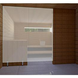 Saunan lasiseinä Vihtan 6 ovi + sivulasi rst jaloilla satiini