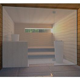 Saunan lasiseinä Vihtan 8 ovi + 2 sivulasia harmaa