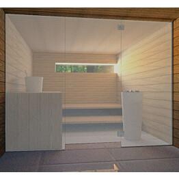 Saunan lasiseinä Vihtan 6 ovi + 2 sivulasia harmaa satiini