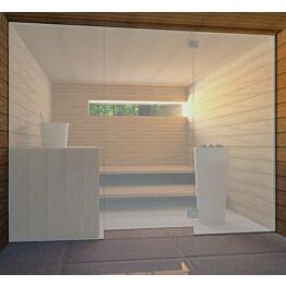 Saunan lasiseinä Vihtan 8 ovi + 2 sivulasia satiini