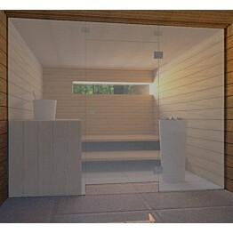 Saunan lasiseinä Vihtan 7 ovi + ylälasi + 2 sivulasia harmaa