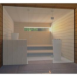 Saunan lasiseinä Vihtan 7 ovi + ylälasi + 2 sivulasia harmaa satiini