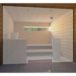 Saunan lasiseinä Vihtan 7 ovi + ylälasi + 2 sivulasia satiini