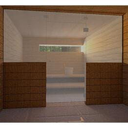 Saunan lasiseinä Vihtan 8 ovi + ylälasi + 2 sivulasia harmaa