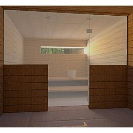 Saunan lasiseinä Vihtan 9 ovi + 2 sivulasia kirkas harmaa satiini