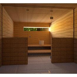 Saunan lasiseinä Vihtan 8 ovi + ylälasi + 2 sivulasia kirkas