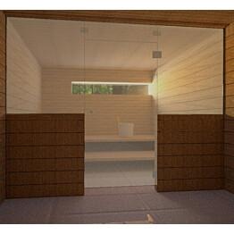 Saunan lasiseinä Vihtan 9 ovi + 2 sivulasia kirkas pronssi