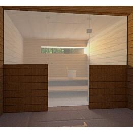 Saunan lasiseinä Vihtan 8 ovi + ylälasi + 2 sivulasia satiini