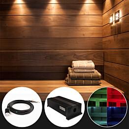 Saunan laudevalaistussarja Cariitti VPL30C-G211 LED-värinvaihtoprojektorilla + 11 kuitua
