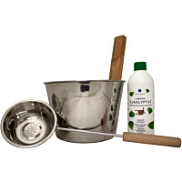 Saunasetti Emendo teräskiulu + kauha + Eukalyptus 500 ml