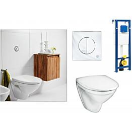 Seinä-WC-istuinpaketti Gustavsberg Nautic 5530 Ceramicplus täydellinen toimitus krominen huuhtelupainike