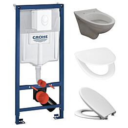 Seinä-WC-paketti Bathlife sis. Rapid-asennusteline, kansi ja huuhtelupainike valkoinen