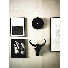 Seinäkello OHTO Nordic Home Lastu Ø25 cm musta/kulta lisäkuva 3