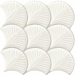 Seinälaatta LPC Shell Valkoinen 30,7x30,7 cm kohokuvioinen matta