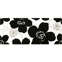 Seinälaatta Vogue Fiori Black/White 26x61 monivärinen