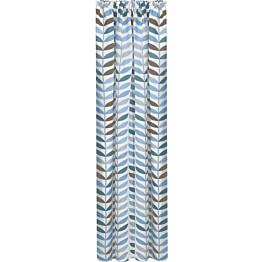Sivuverho Gerster 140x245 cm lehtikuvio sininen luomupuuvilla
