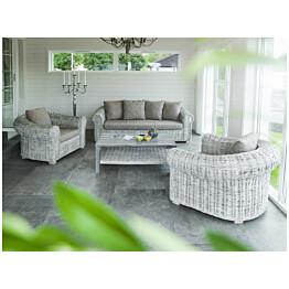 Sohva Hillerstorp Leicester, 2,5-hengen istuttava, valkoinen/harmaa