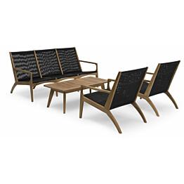 Sohvaryhmä Elma, pöytä, sohva, 2 nojatuolia, ruskea/musta