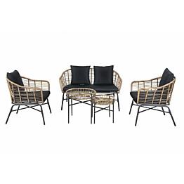 Sohvaryhmä Chic Garden Milano sohva + 2 pöytää + 2 nojatuolia beige/grafiitti