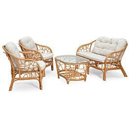 Sohvaryhmä Fårö (2h-sohva 2xnojatuolit pöytä) beige