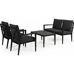 Sohvaryhmä Sobra pinottava 2-istuttava sohva + 2 nojatuolia musta/harmaa sis. sohvapöydän
