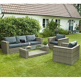 Sohvaryhmä Varese (3h-sohva + 2 nojatuolia + pöytä) ruskeanharmaa