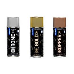 Spraymaali Art&Deco metallihohto 400ml kromi/kupari/kulta (6kpl)