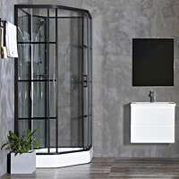 Suihkukaappi Bathlife Betrakta, 900x900mm, kaareva, musta kehys