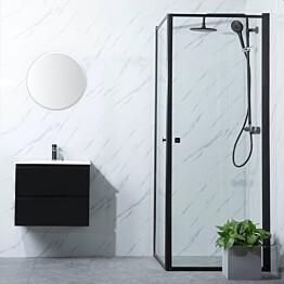 Suihkunurkka Bathlife Profil 1000x1000mm kaksi ovea musta kehys