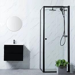 Suihkunurkka Bathlife Profil seinä 800mm ovi 900mm musta kehys