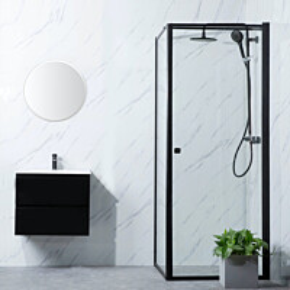 Suihkunurkka Bathlife Profil seinä 900mm ovi 900mm musta kehys