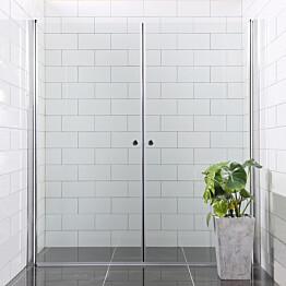 Suihkunurkka Bathlife Mångsidig Vital kaksi ovea 700x1900 mm + 900x1900 mm kirkas kulmikas