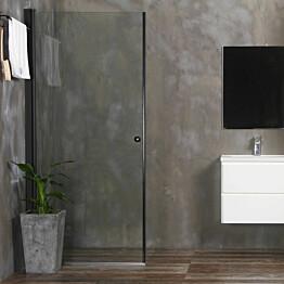 Suihkuovi Bathlife Mångsidig 700mm, suora, kirkas lasi, musta kehys