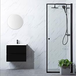 Suihkuovi Bathlife Profil 700, S/P, kirkas lasi, musta