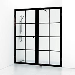 Suihkuovi ja suihkuseinä Svedbergs 180° Rista kahden seinän väliin, 190x200, musta kehys