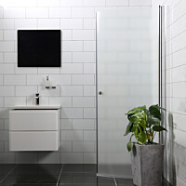 Suihkuovi Bathlife Mångsidig 900 H/P kaareva himmeä