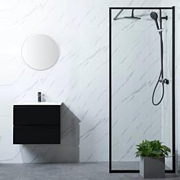 Suihkuseinä Bathlife Profil 800, P/P, kirkas lasi, musta